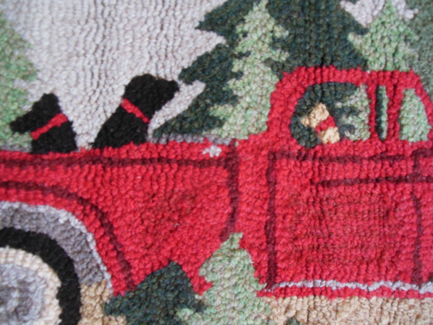 Red Truck Hooked Rug