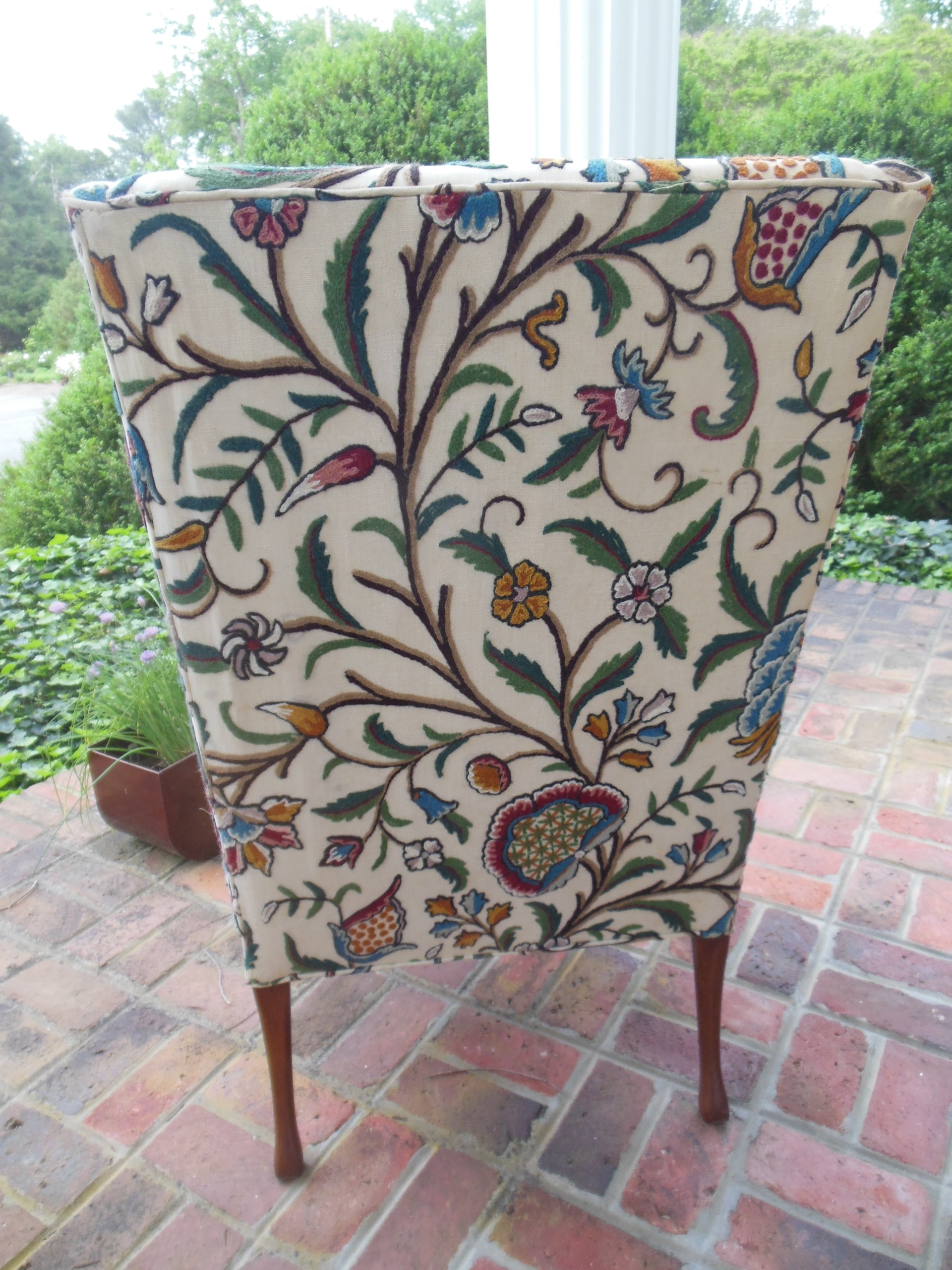Pair Of Hickory Chair Company Wing Chairs With Crewel Work Upholstery   SOLD