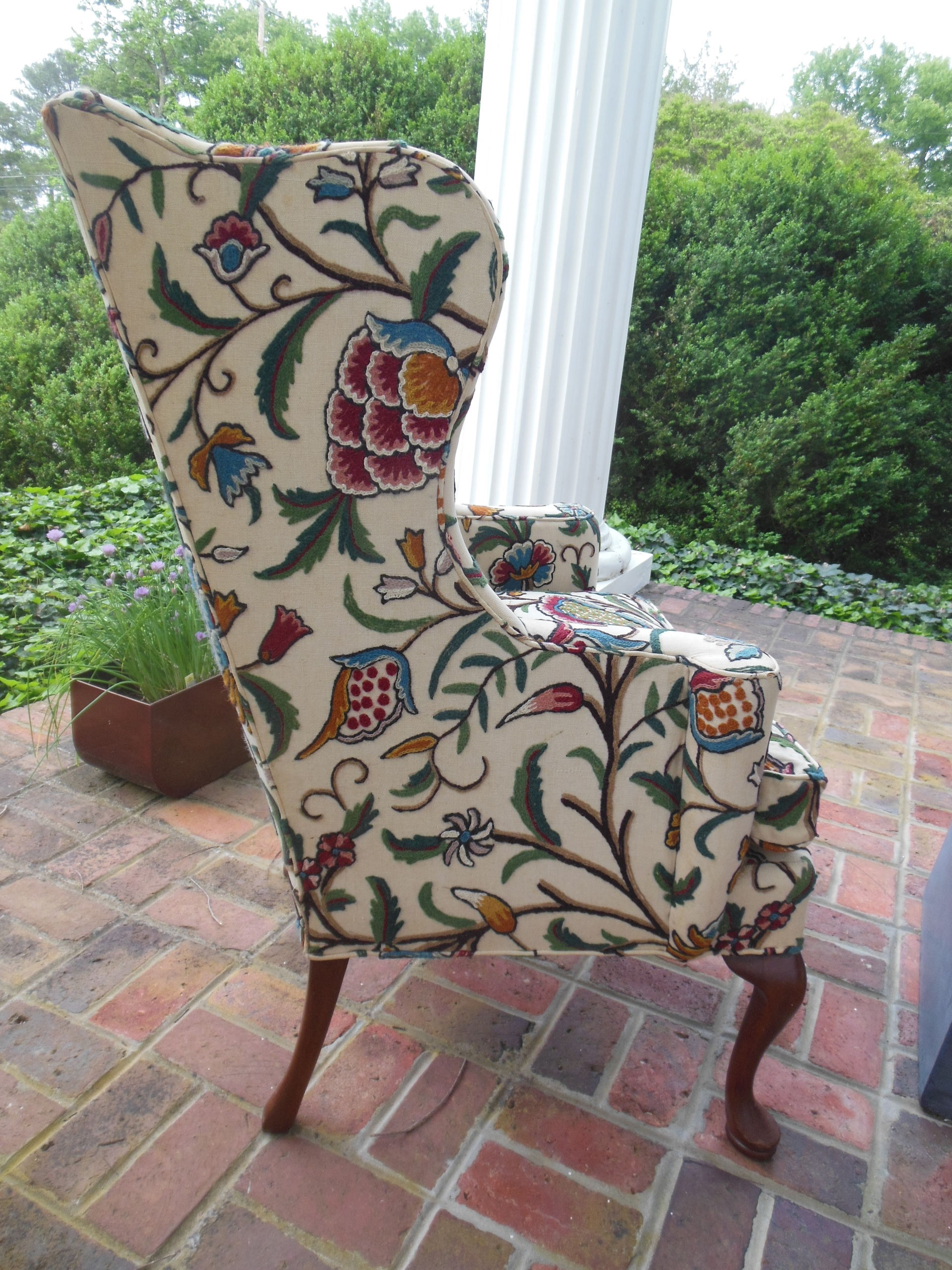 Pair Of Hickory Chair Company Wing Chairs With Crewel Work